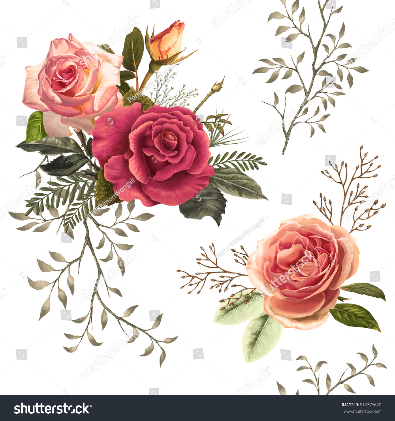 Illustration Beautiful Flower On White Background Stock Illustration