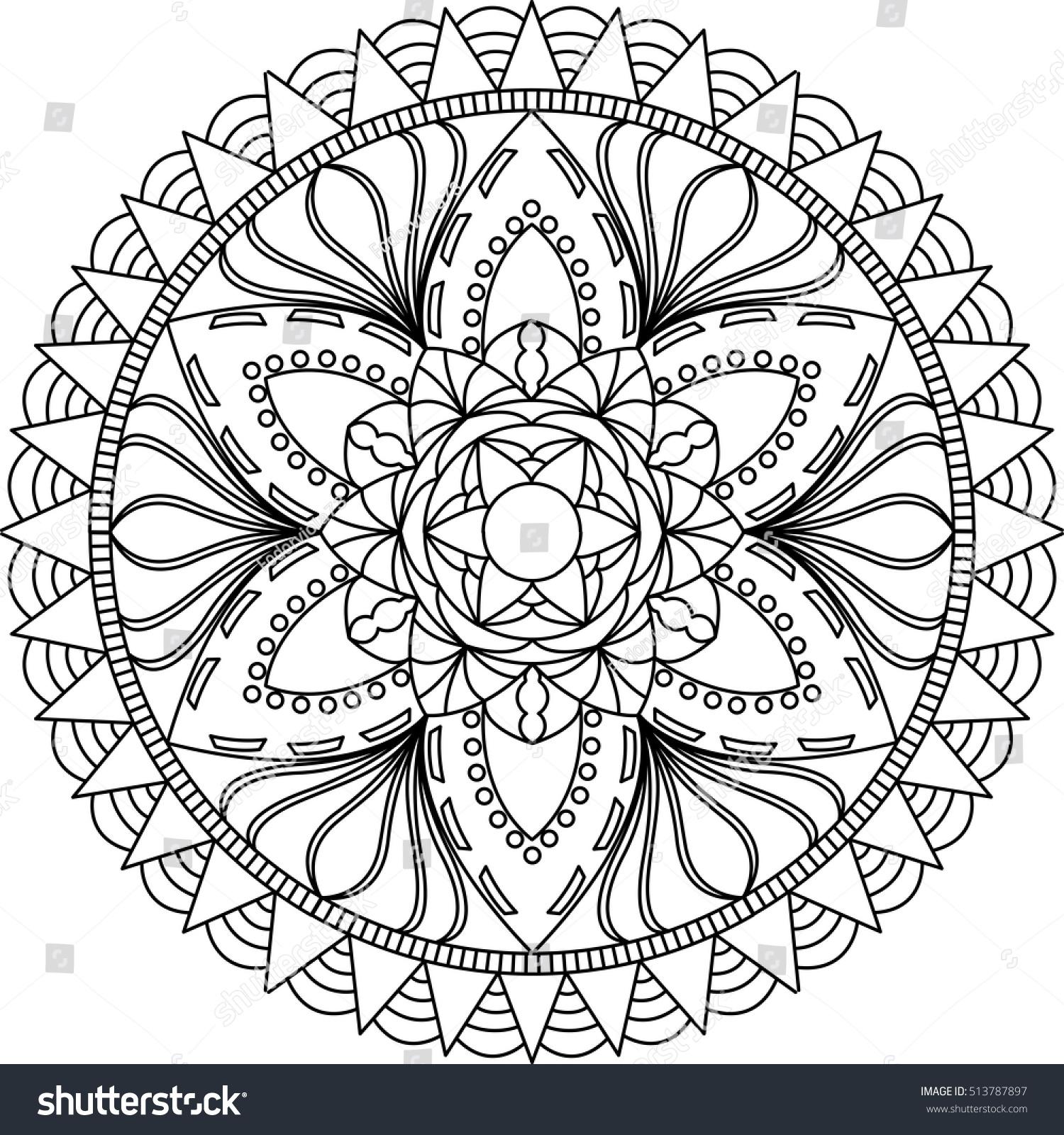 Mandala Coloring Page Mandala Adult Coloring Stock Vector (Royalty ...