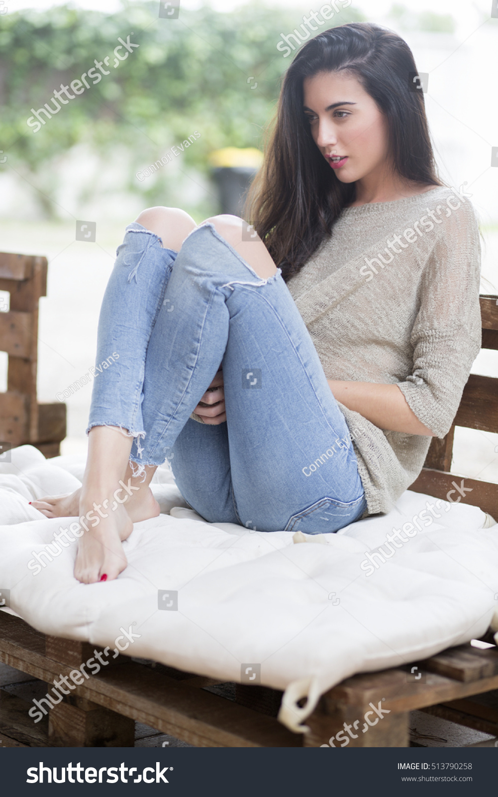 woman relaxing home stock photo 513790258 shutterstock. Black Bedroom Furniture Sets. Home Design Ideas