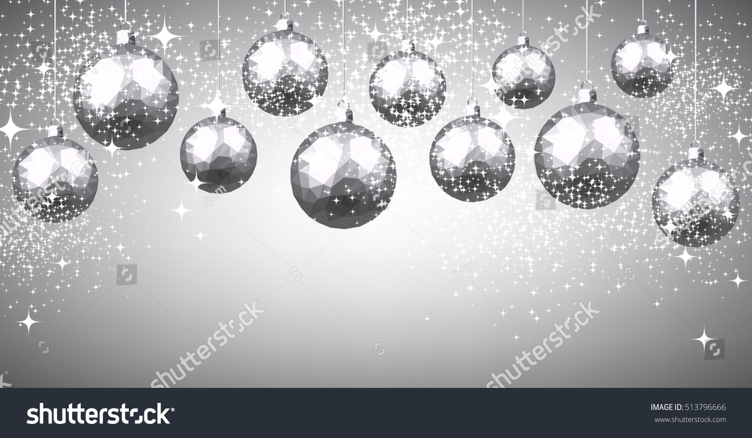 new year gray background with silver christmas balls vector illustration