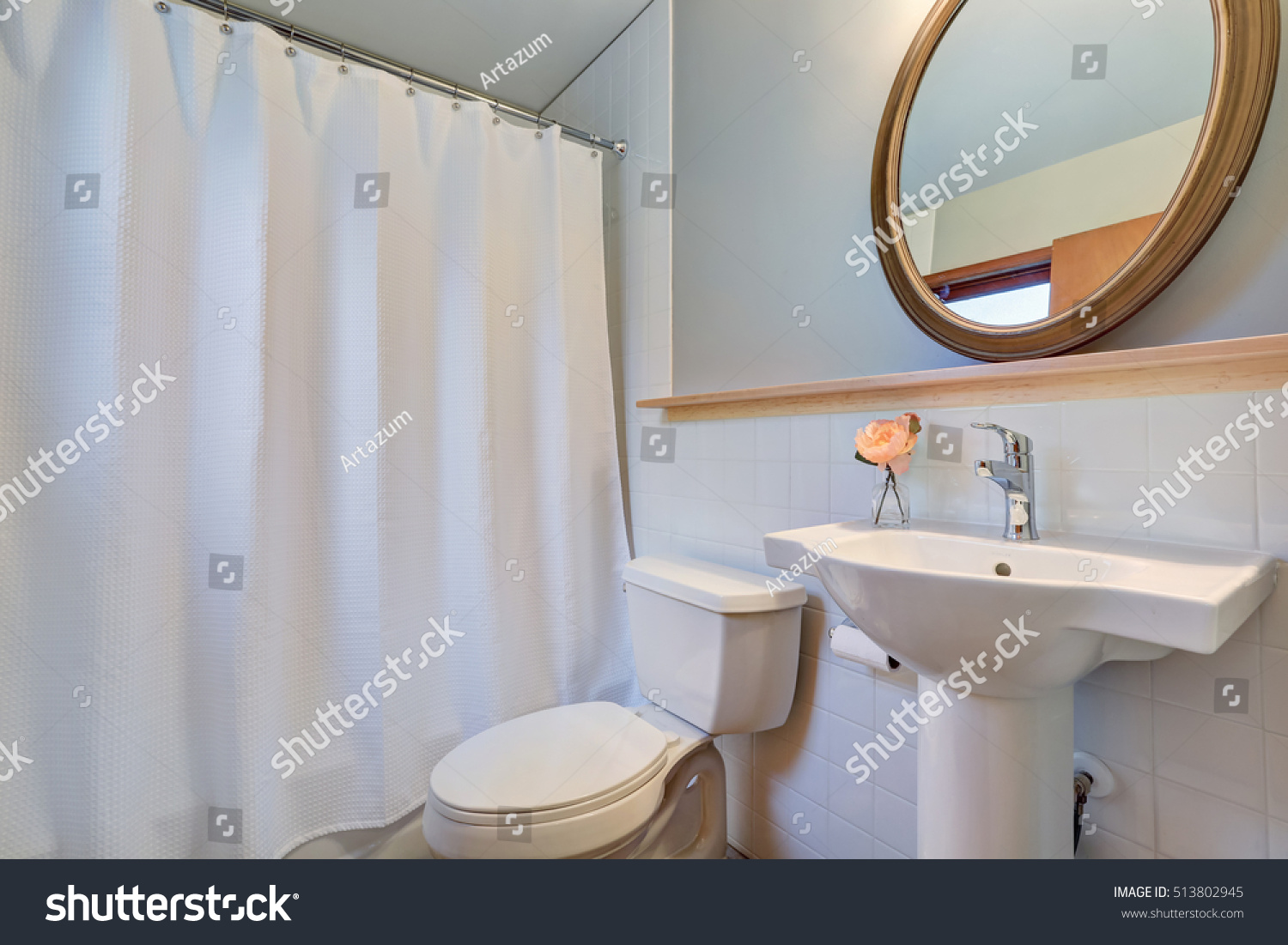 White Clean Bathroom Washbasin Stand Round Stock Photo & Image ...