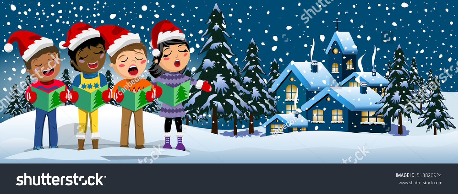 e8a3986e4900d Multicultural Kids Wearing Xmas Hat Singing Stock Vector (Royalty ...