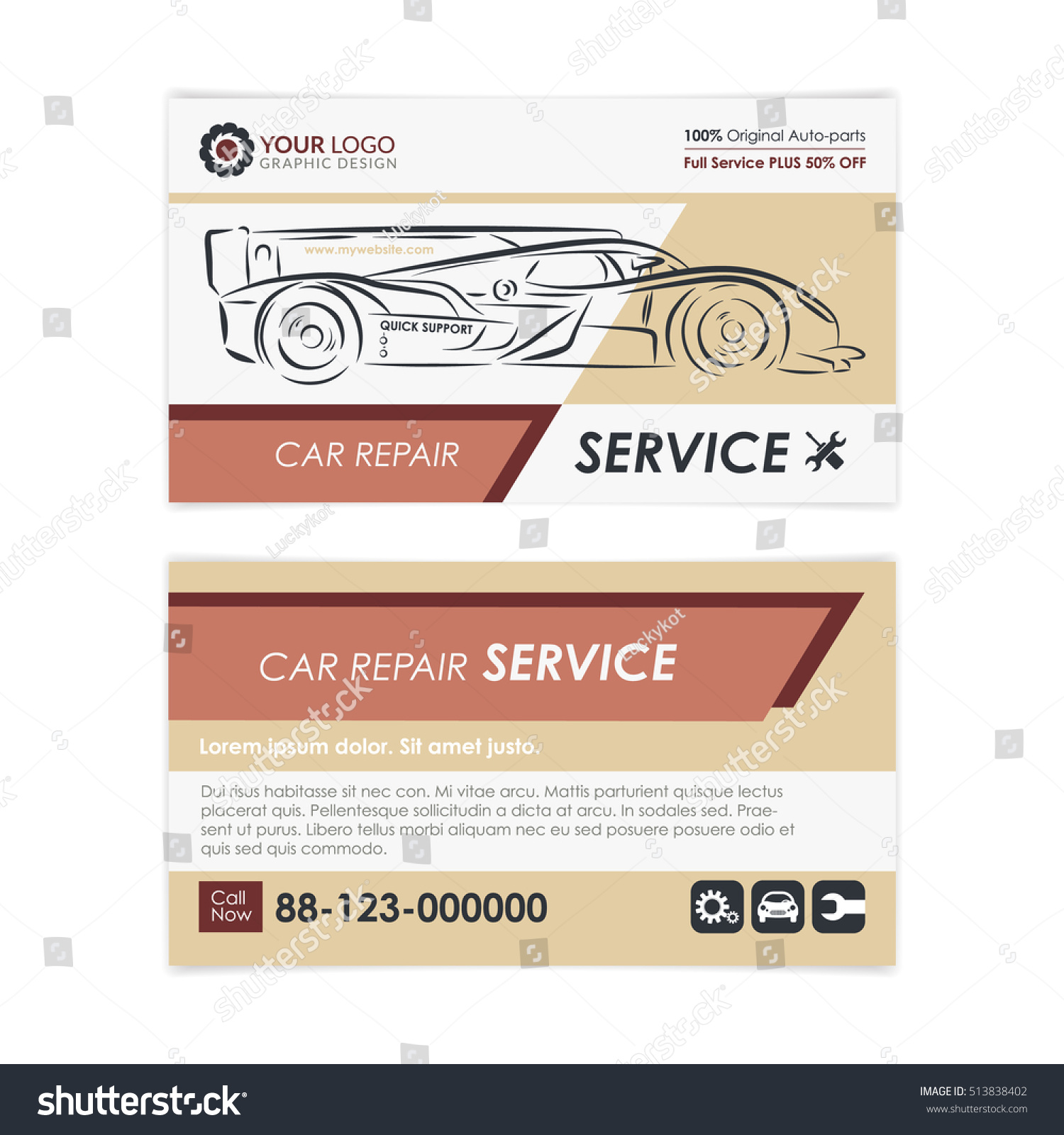 Vintage Auto Repair Business Card Template Stock Vector 513838402 ...