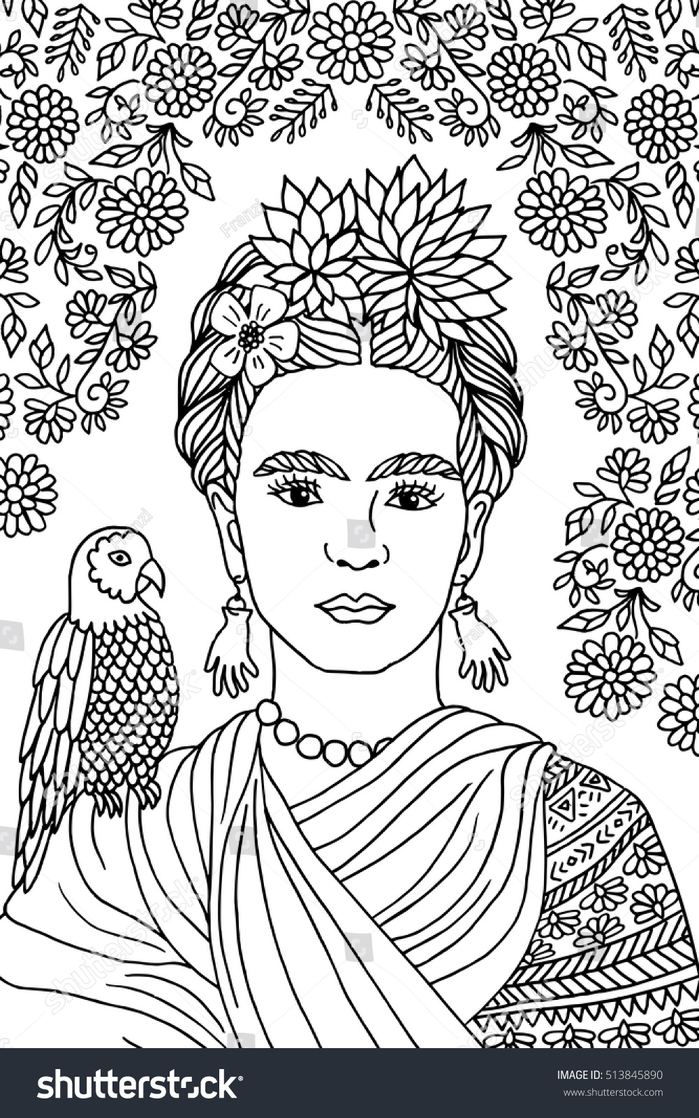 Hand Drawn Portrait Frida Kahlo Floral Stock Vector Royalty Free