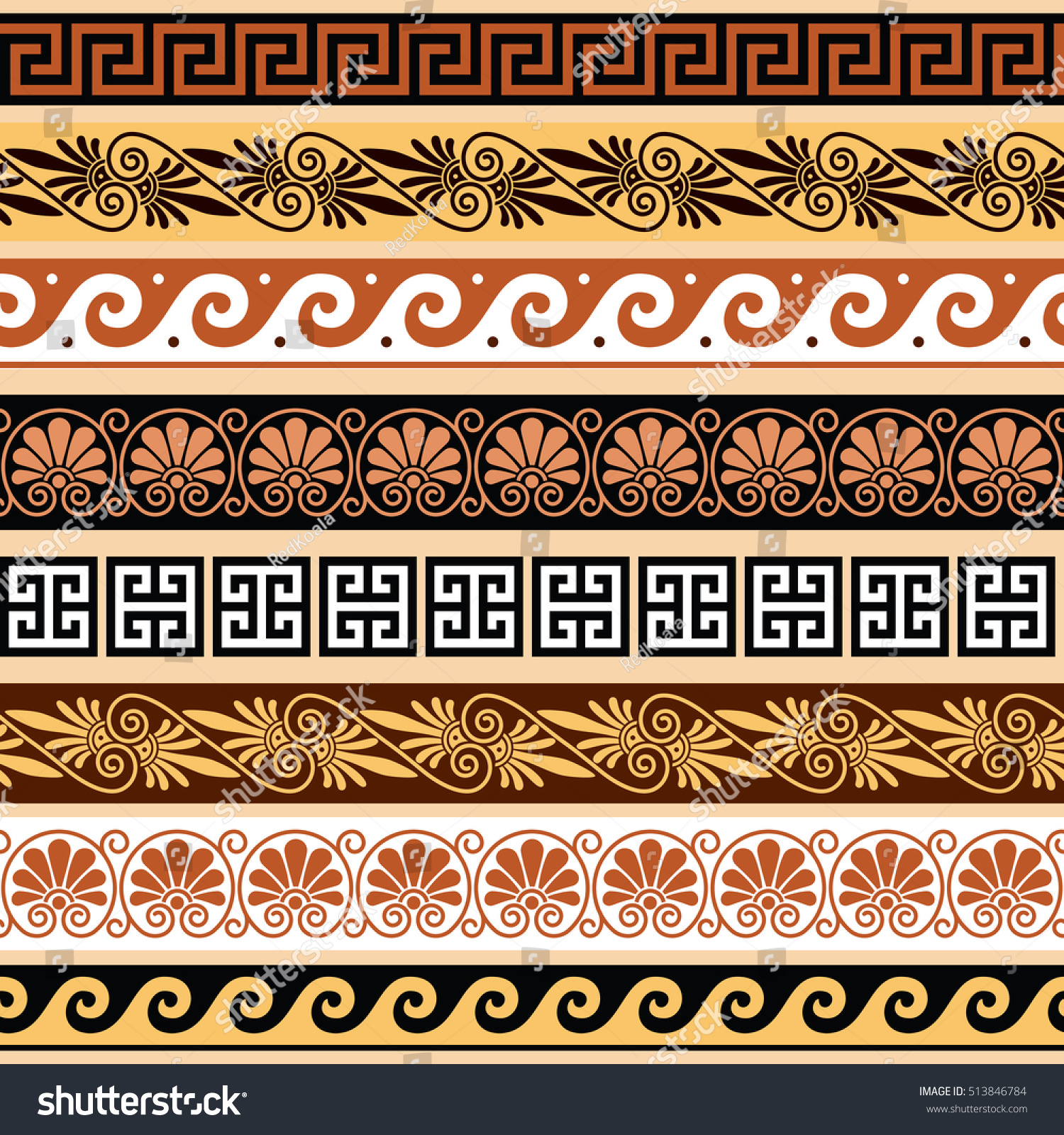 Ancient greek pattern seamless set antique stock vector royalty ancient greek pattern seamless set of antique borders from greece m4hsunfo