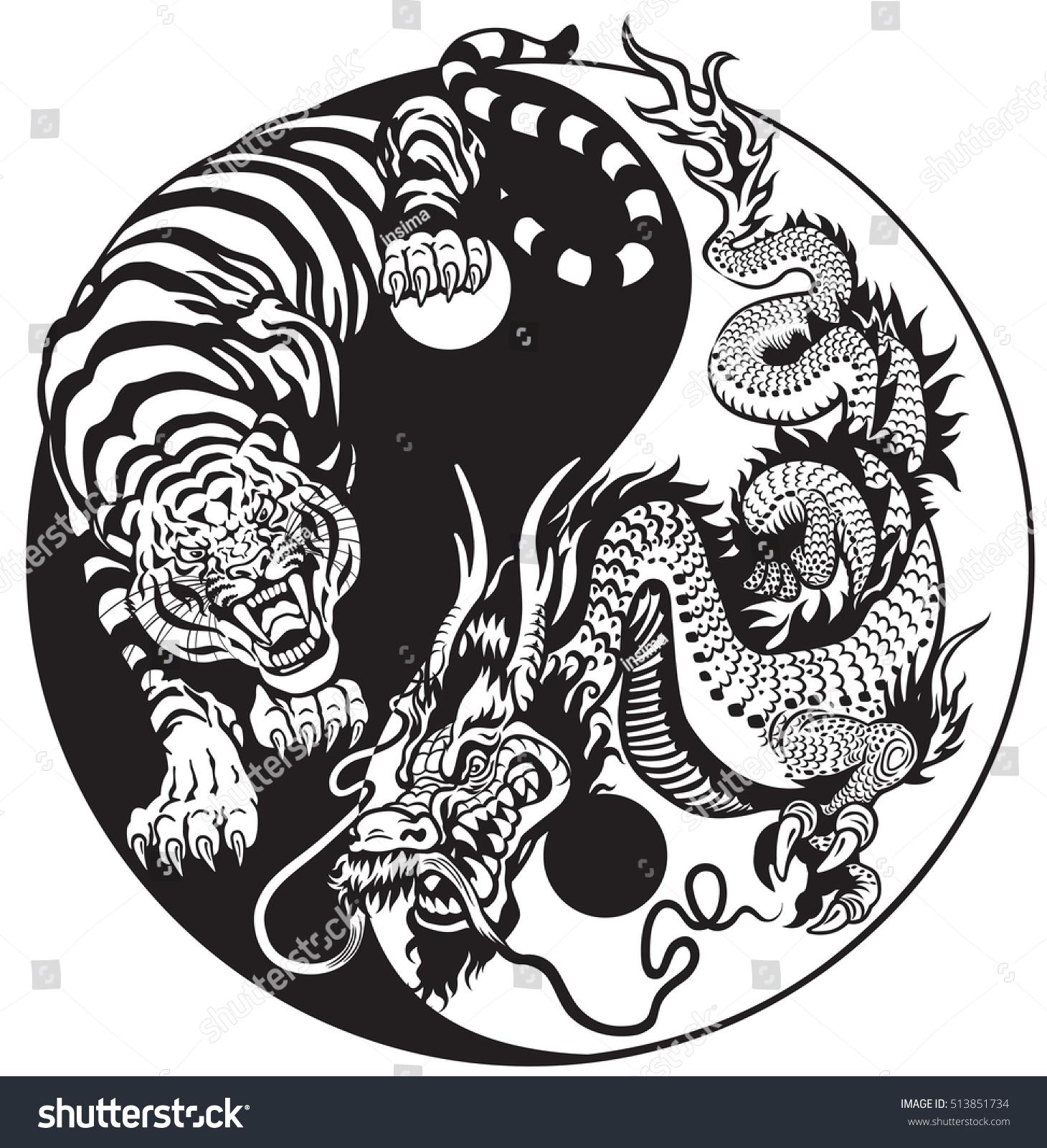 Dragon tiger yin yang symbol harmony stock vector - Simboli portafortuna cinesi ...