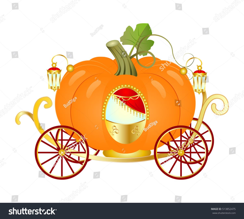 Vector Cartoon Cinderella Orange Pumpkin Carriage Stock Vector 513852475 - Shutterstock