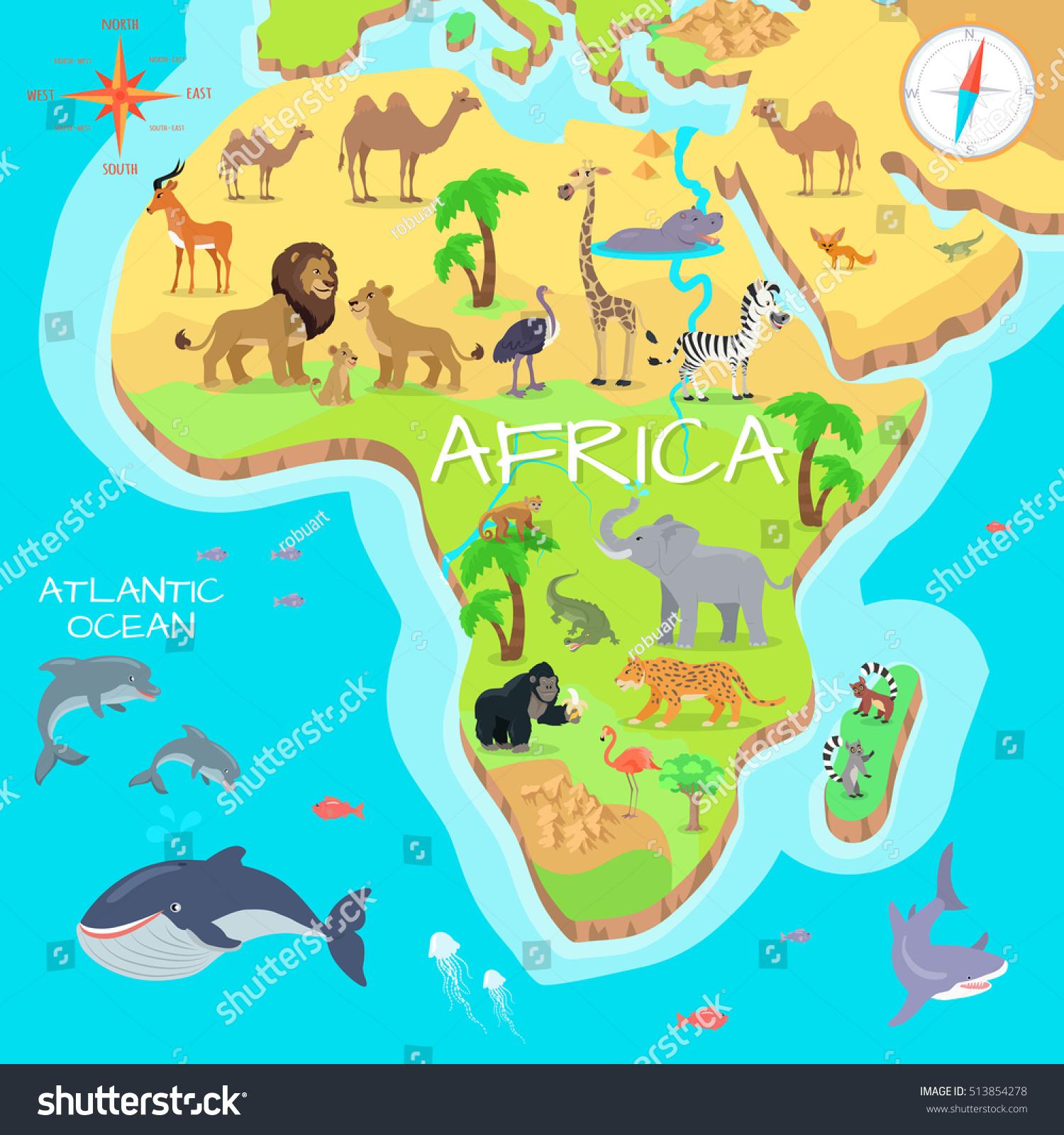 royaltyfree africa mainland cartoon map with local…   - africa mainland cartoon map with local fauna cute african animals flatvector savannah predator