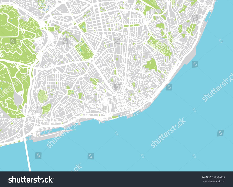 Urban City Map Lisbon Portugal Stock Vector Shutterstock - lisbon map