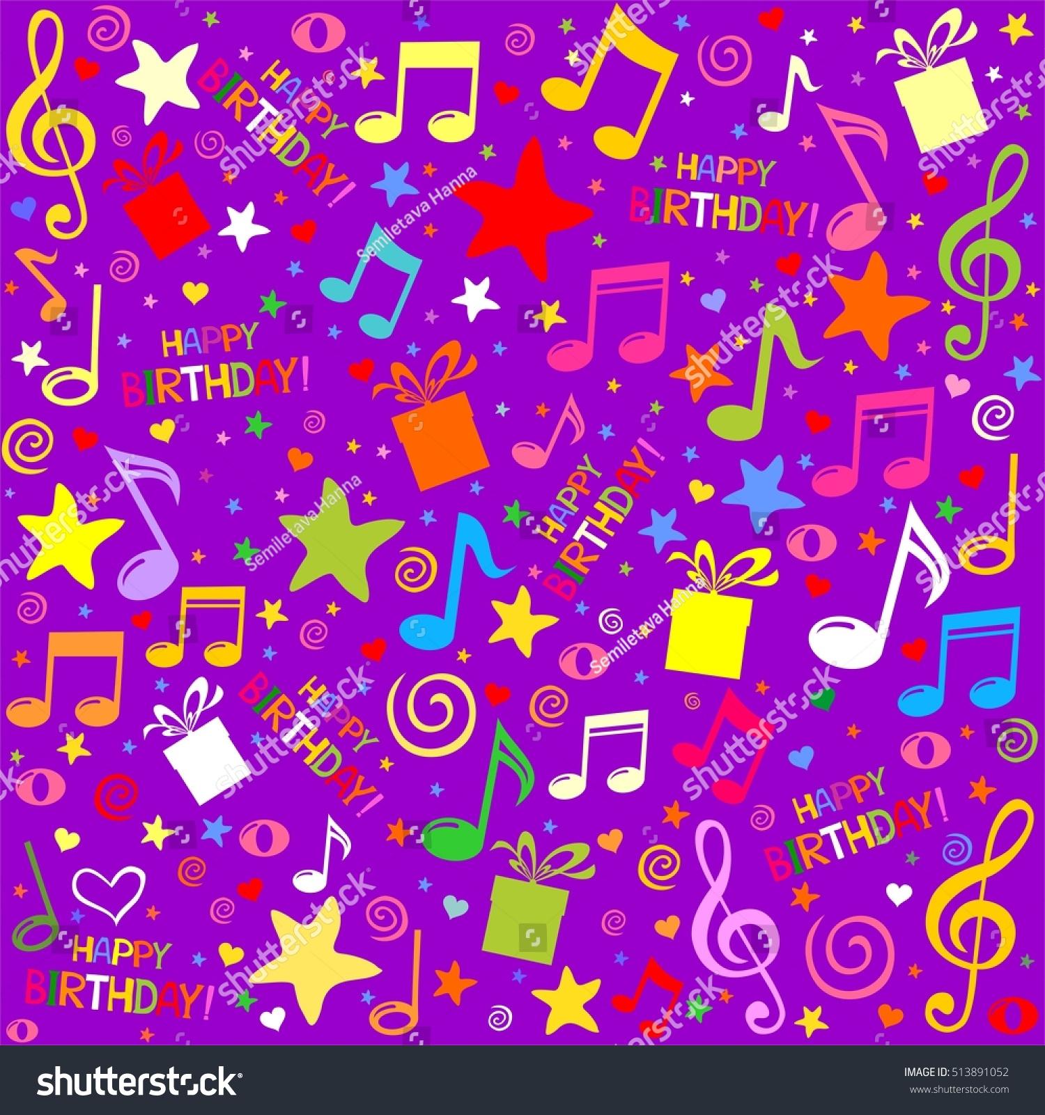 happy birthday seamless violet pattern wallpaper stock illustration