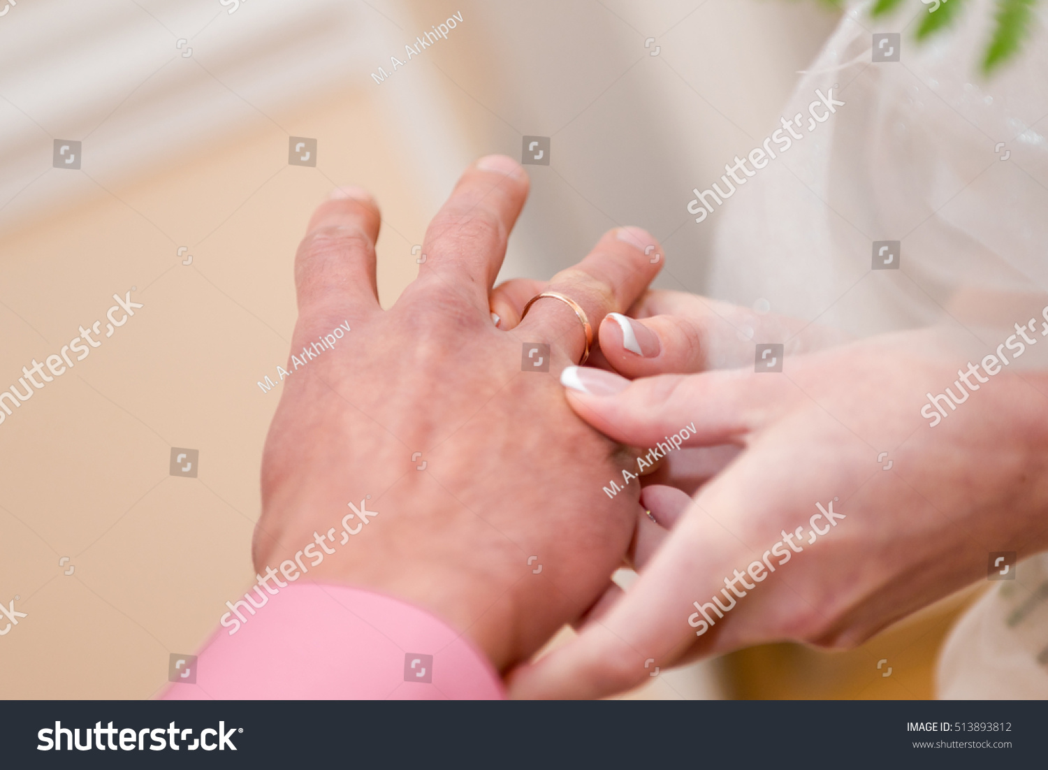 Bride Puts Wedding Ring On Finger Stock Photo & Image (Royalty-Free ...