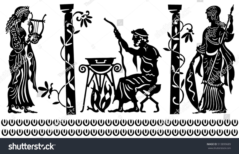 Background Greek Style Black Silhouettes Greek Stock Vector
