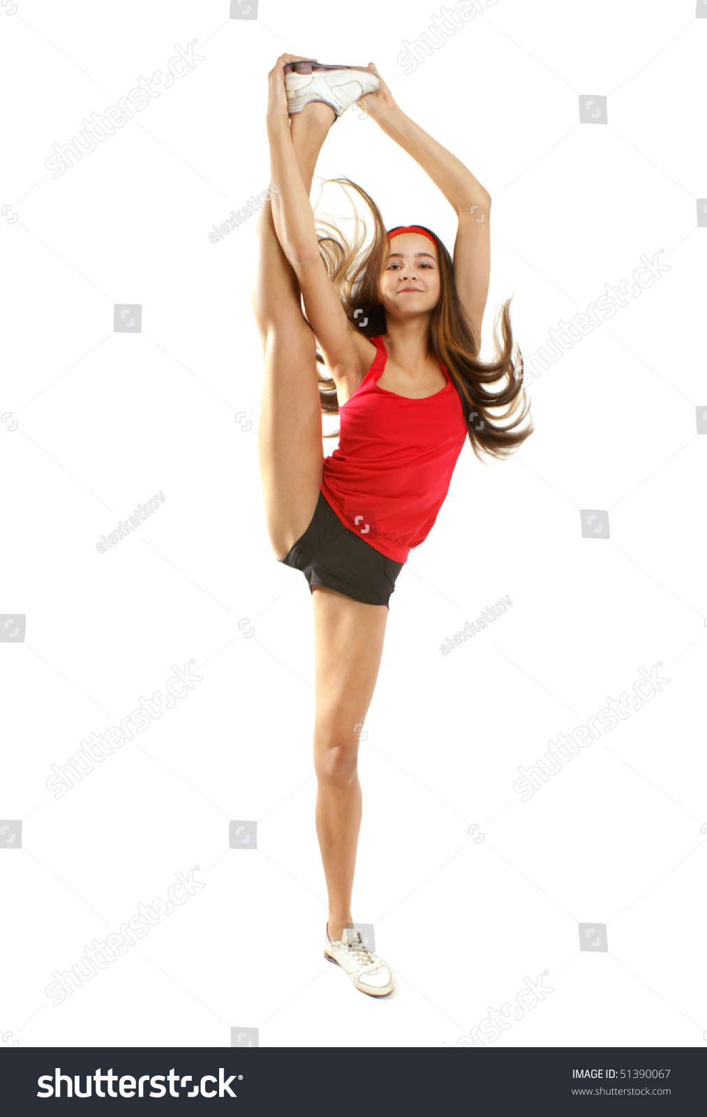 Flexible Girl Gymnastic Pose Stock Photo 51390067 -6469