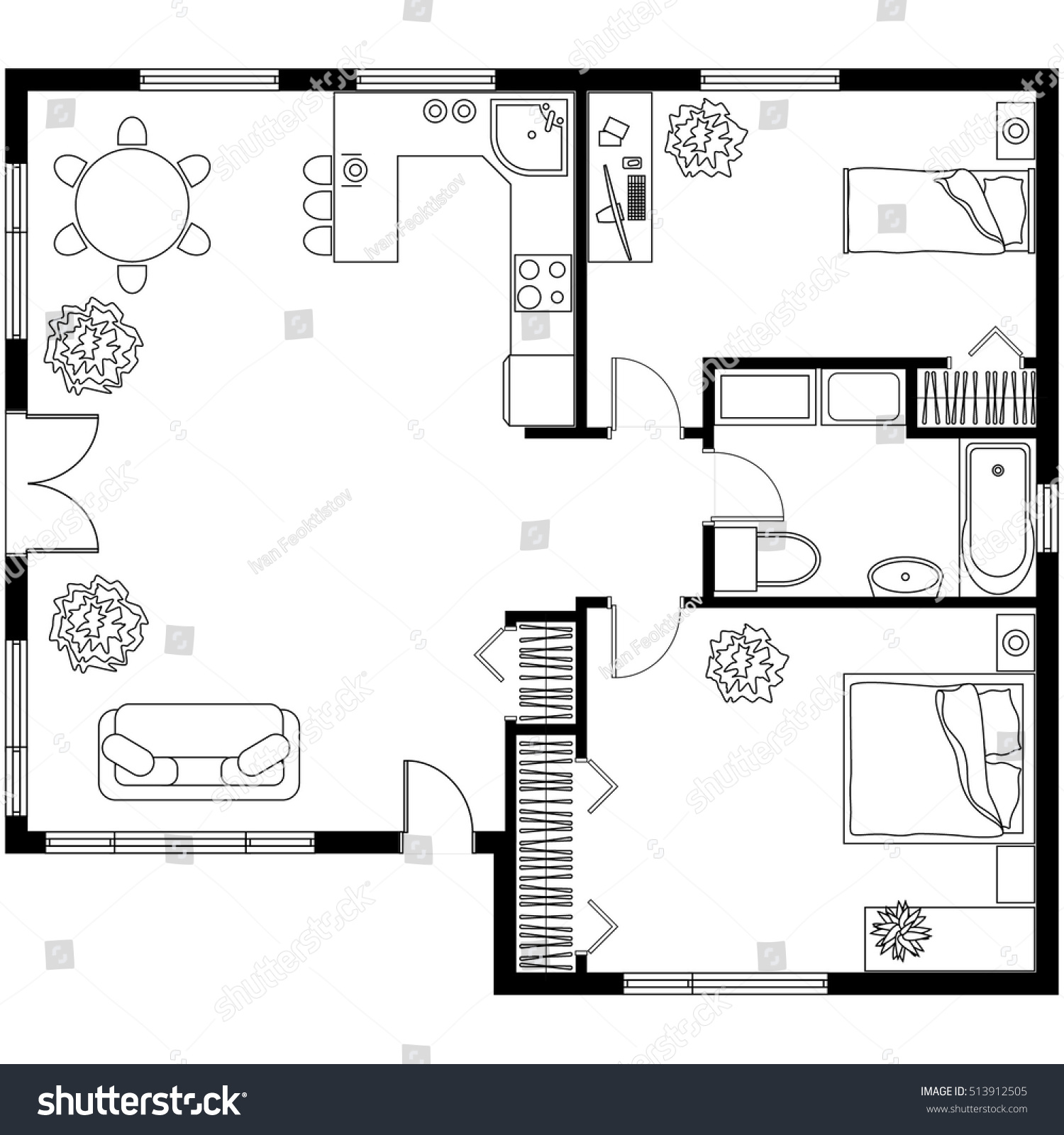 black white architectural plan house layout stock vector 513912505