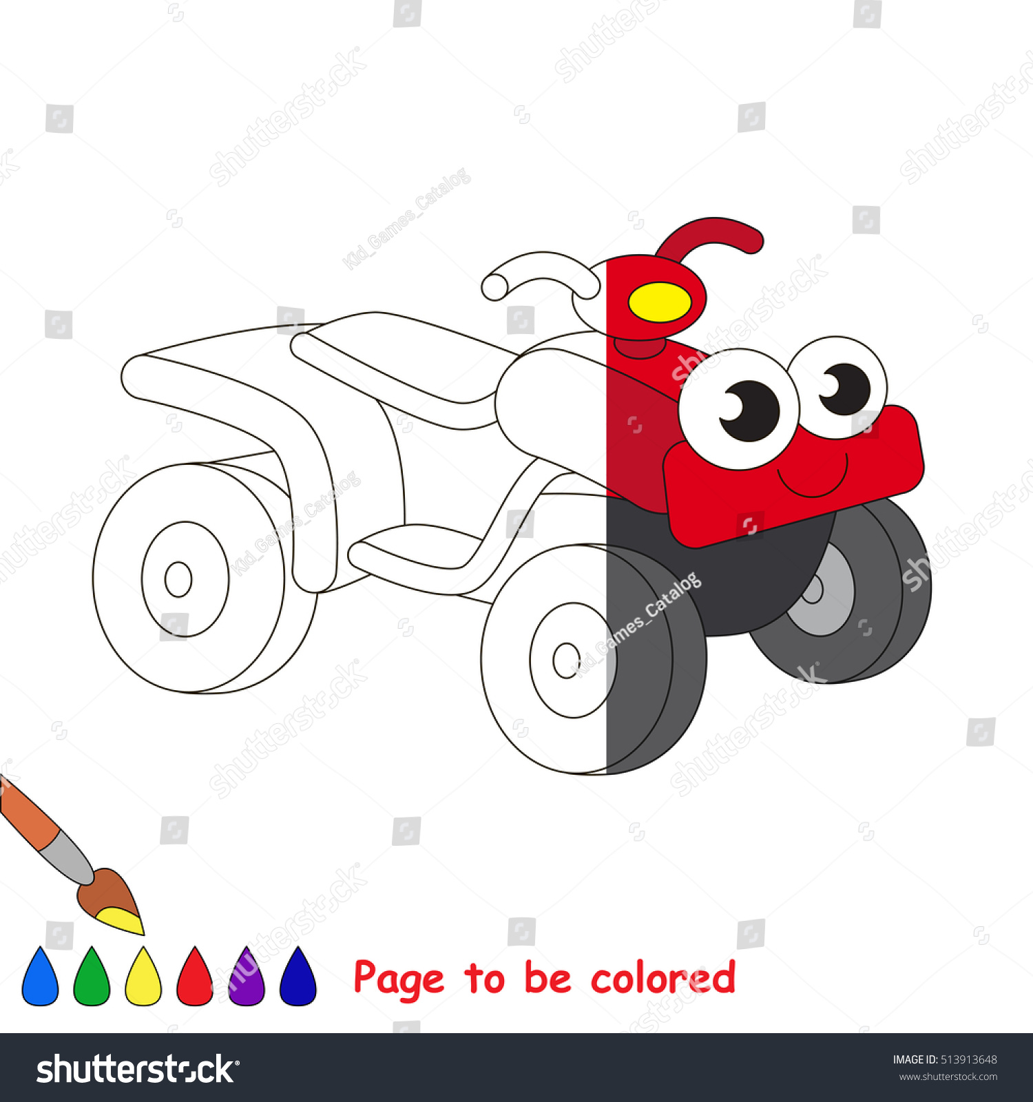 Quad Bike Be Colored Coloring Book Stock Photo (Photo, Vector ...
