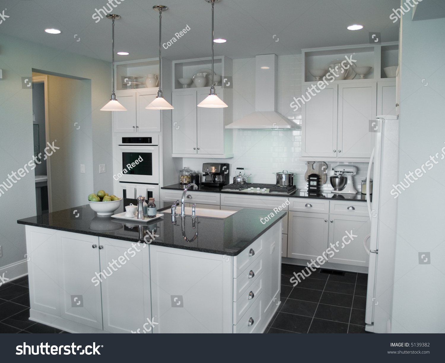 Beautiful modern kitchen center island stock photo 5139382 for Beautiful modern kitchens