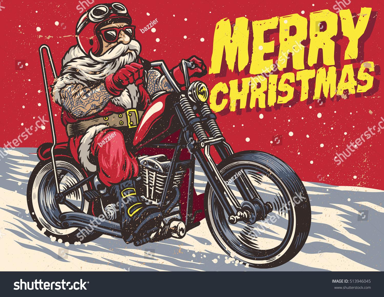 Senior Biker Wear Santa Claus Costume Stock Vector (Royalty Free ...