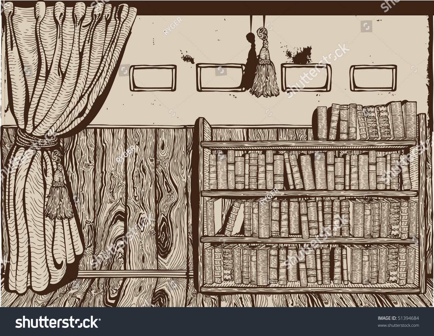 Vintage Library Interior Drawing Vector Stock Vector