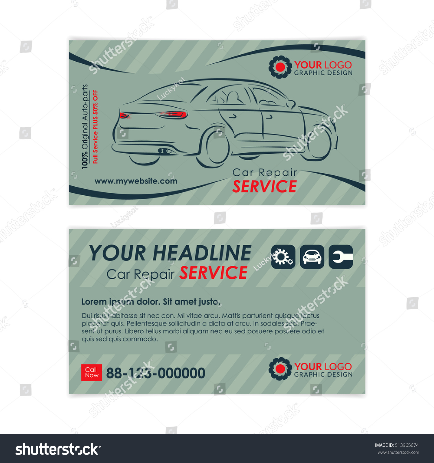 Auto Repair Business Card Template Create Stock Vector 513965674 ...