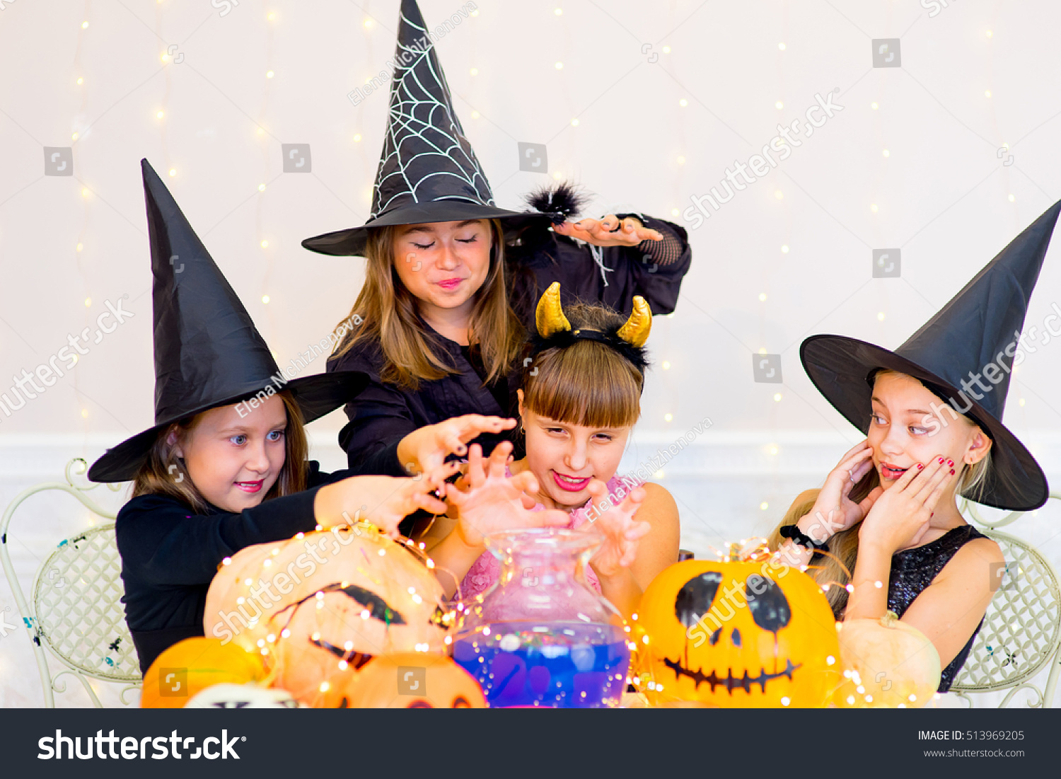 Happy Group Teenagers Costumes During Halloween Stock Photo ...