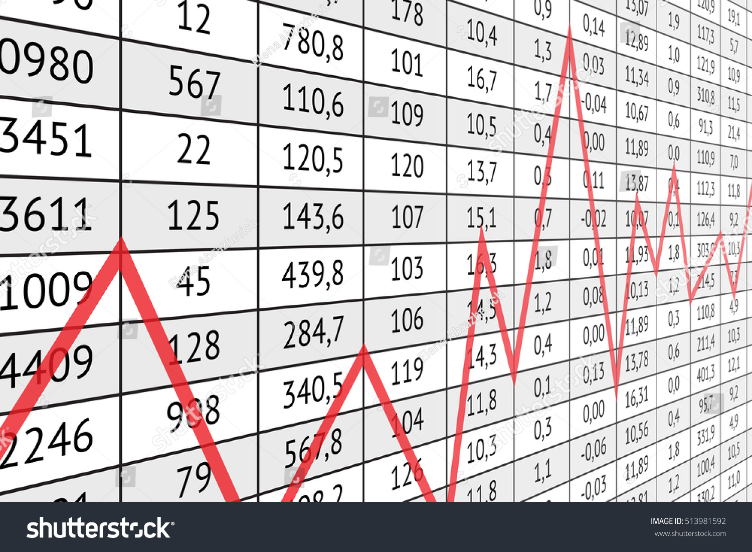 Swell Table Numerical Data Red Graph Line Stock Vector Royalty Download Free Architecture Designs Scobabritishbridgeorg