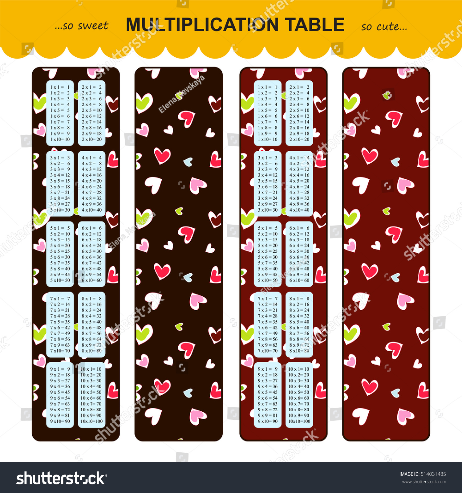 Vector multiplication table printable bookmarks stickers stock vector multiplication table printable bookmarks or stickers with multiple tables cute background with hearts gamestrikefo Image collections