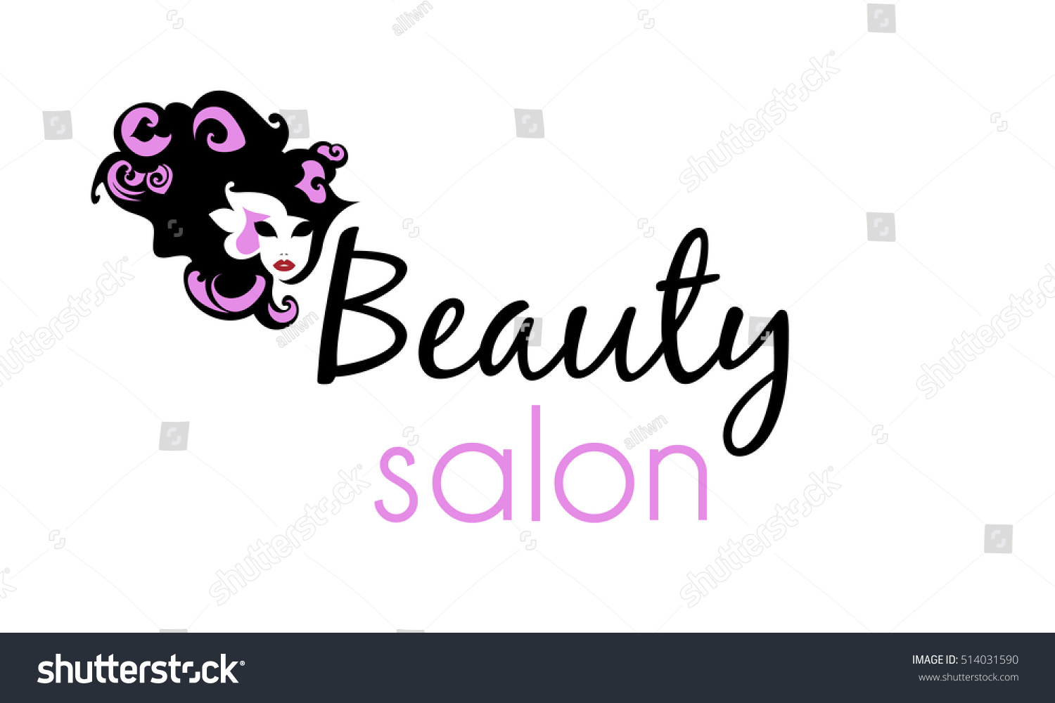 Beautiful black silhouette woman hairstyle abstract stock for Hair salon companies