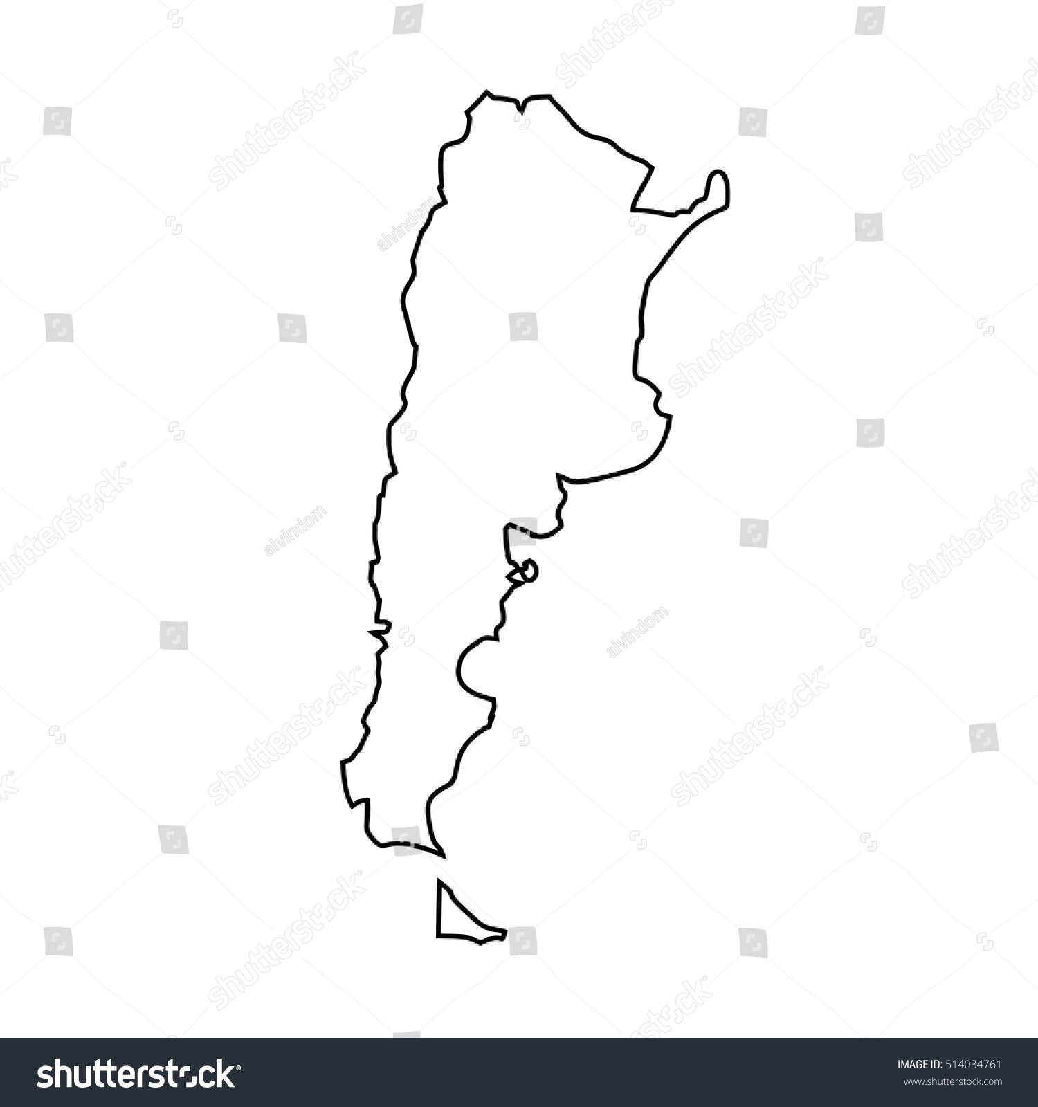 Map Black Outline Argentina Stock Vector Shutterstock - Argentina map outline