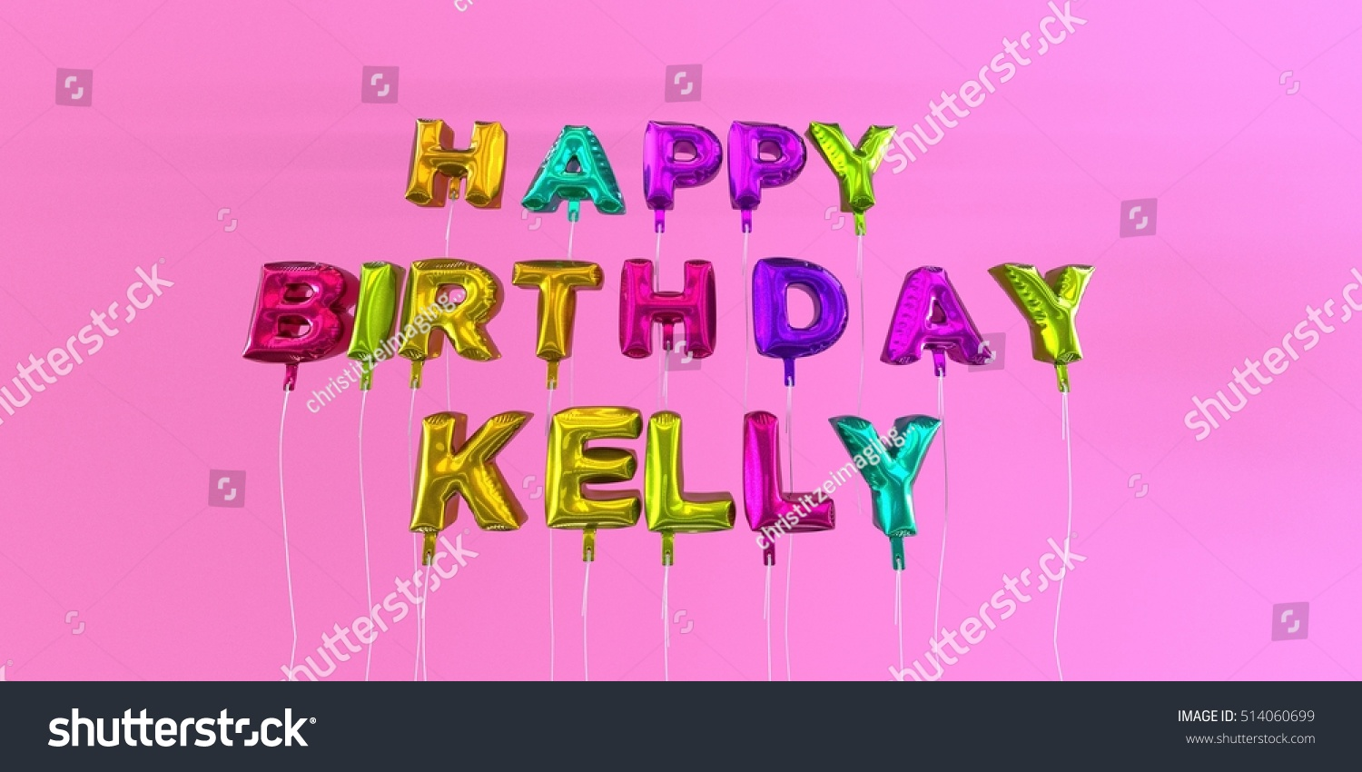 Happy Birthday Kelly Card Balloon Text Stock Illustration 514060699