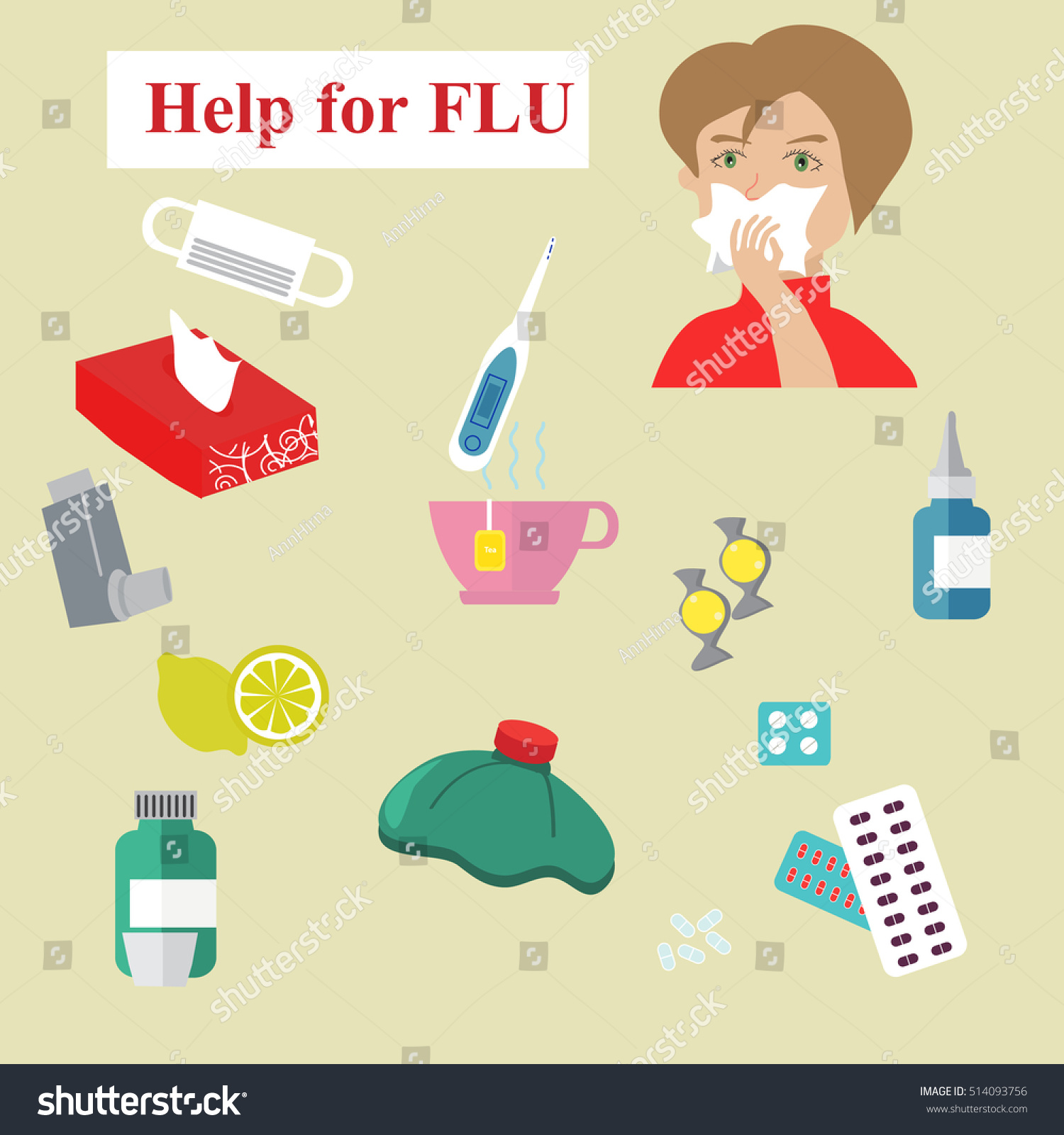 help flu collection vector influenza cold stock vector (royalty free