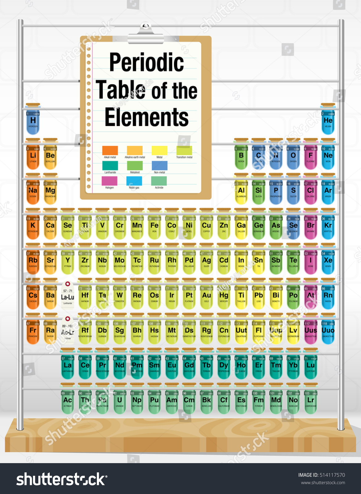 Royalty free periodic table of the elements 514117570 stock periodic table of the elements consisting of test tubes with the names and number of each gamestrikefo Image collections