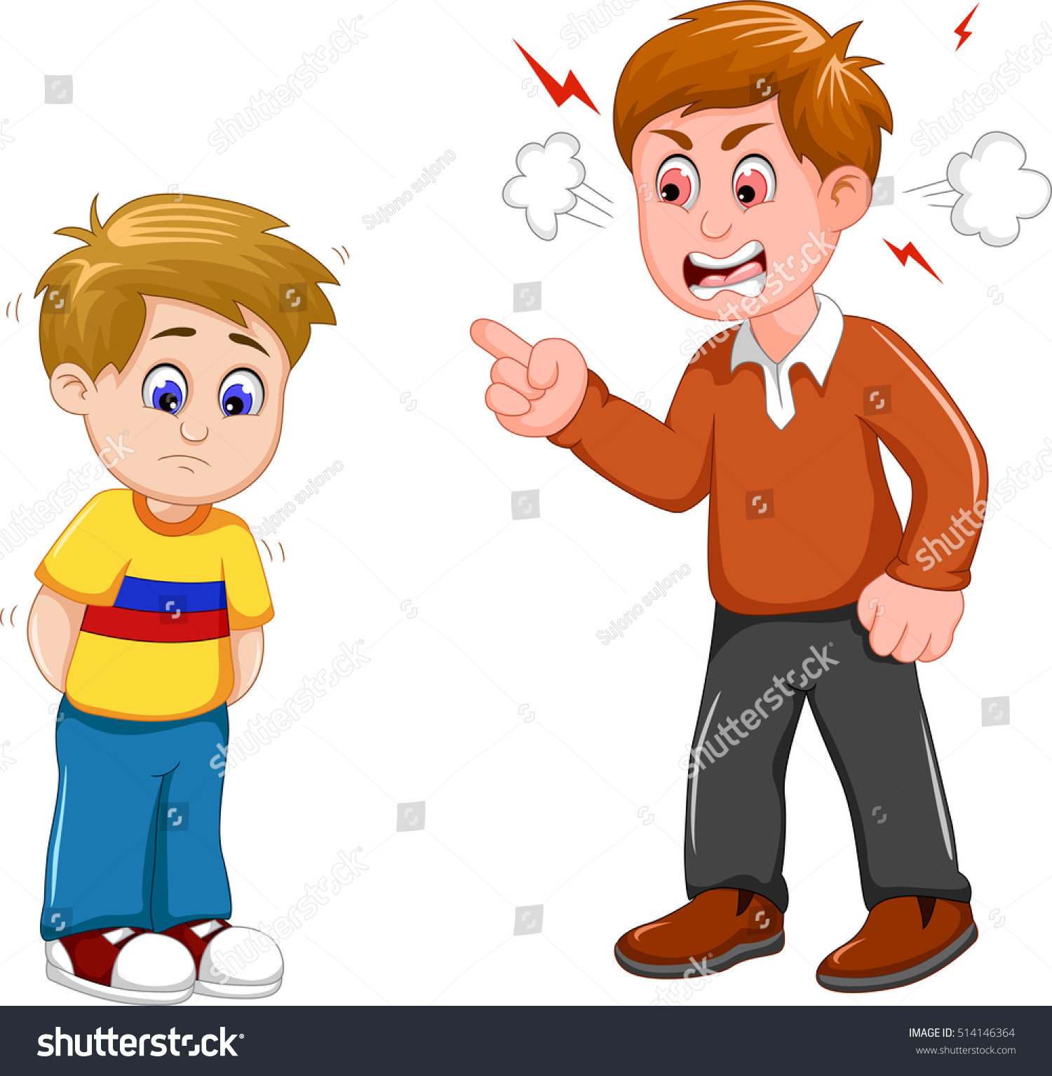 cartoon father scolding his son ベクター画像素材 514146364