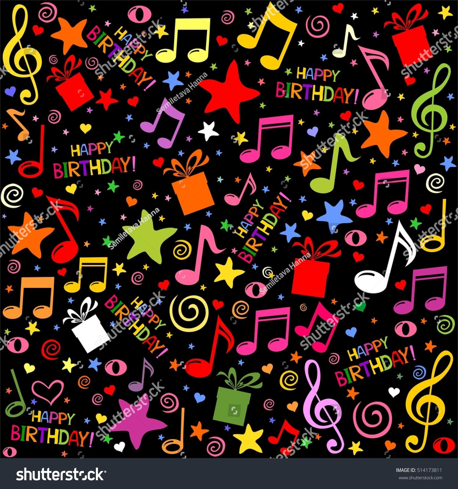 happy birthday seamless black pattern wallpaper stock illustration