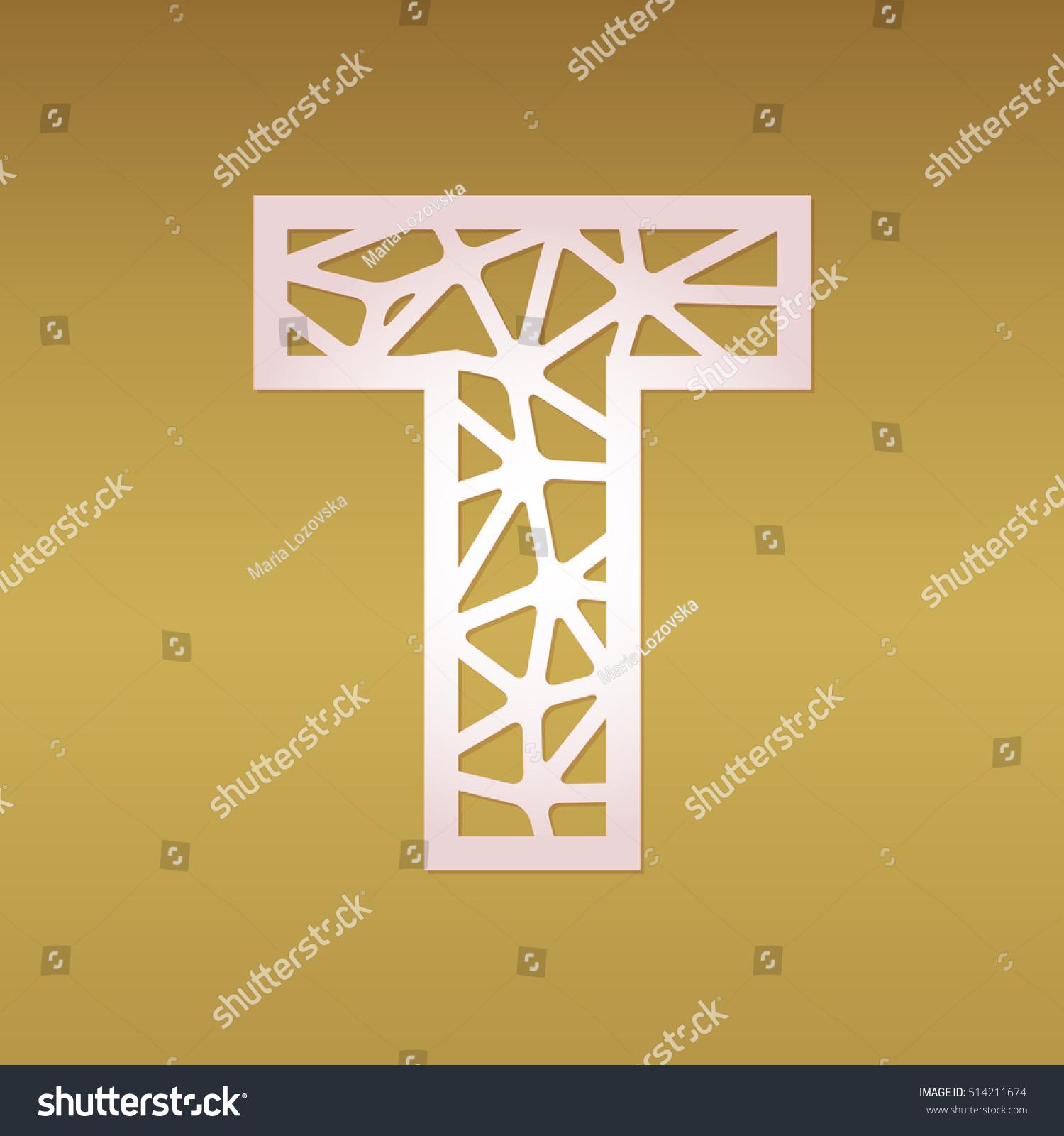 Mosaic Cutout Monogram Initial Letter T Stock Vector 514211674