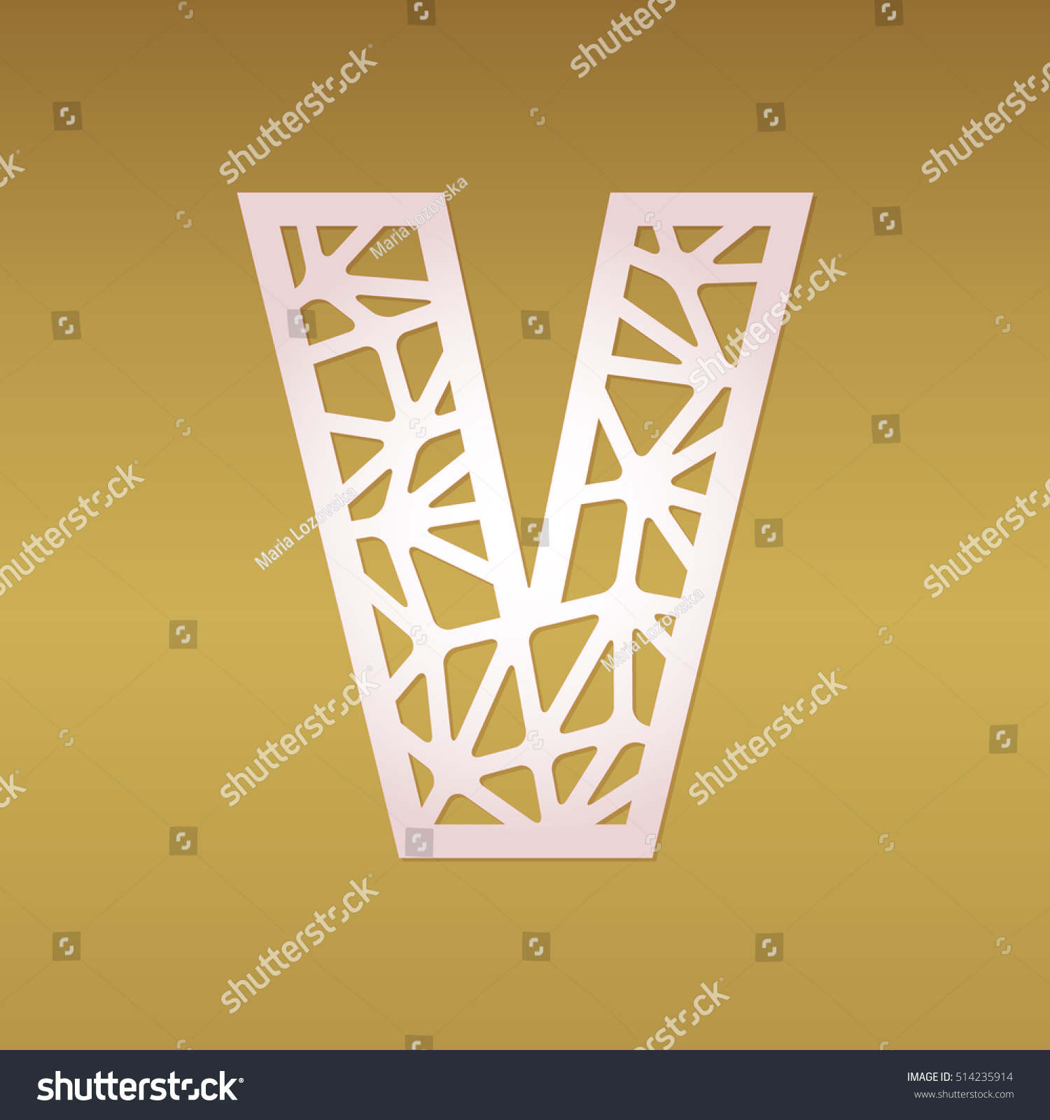 Mosaic Vector Capital Letter V Laser Stock Photo (Photo, Vector ...