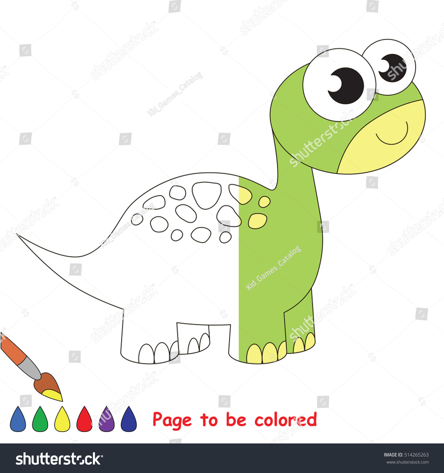 Brontosaurus Dino Be Colored Coloring Book Stock Vector 514265263 ...