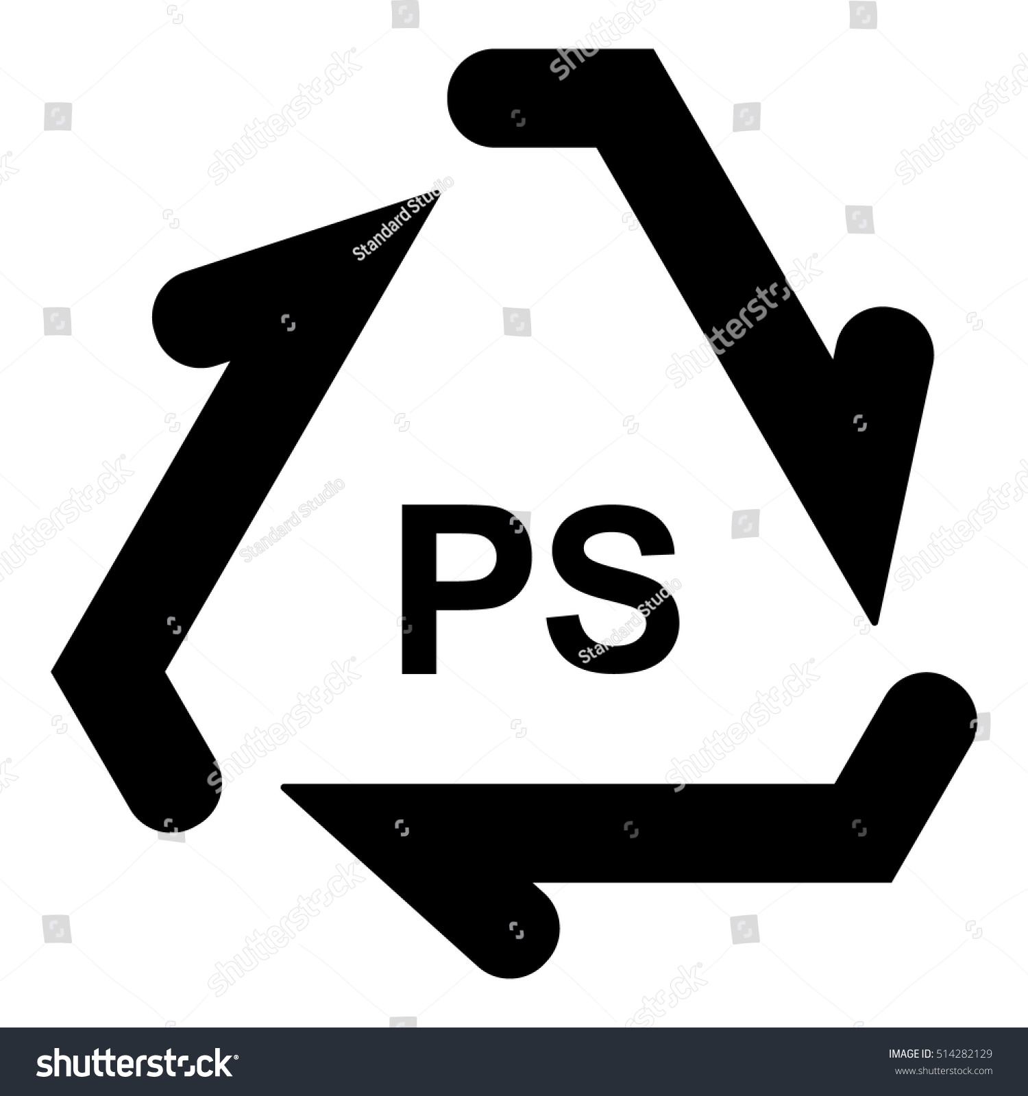 Plastic recycle symbol ps plastic recycling stock vector 514282129 plastic recycle symbol ps plastic recycling code ps vector illustration buycottarizona