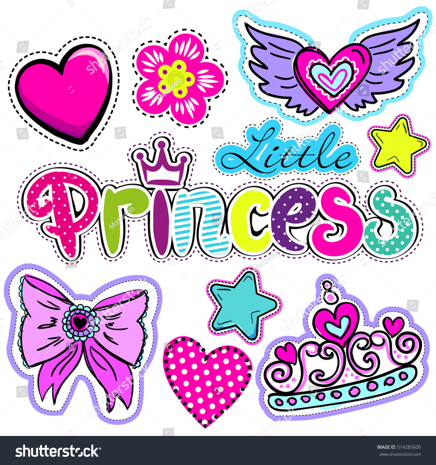 Set Cute Stickers Hearts Love Crown Stock Vector Royalty Free