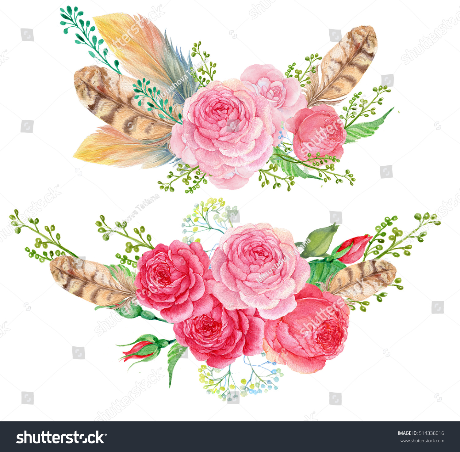 Watercolor floral bouquet feathers and roses composition for watercolor floral bouquet feathers and roses composition for greeting card a bouquet of flowers in watercolor ez canvas izmirmasajfo