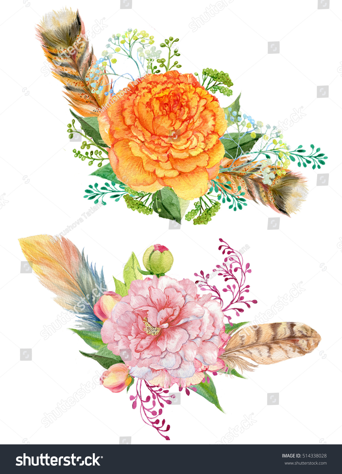 Watercolor floral bouquet feathers and roses composition for id 514338028 izmirmasajfo