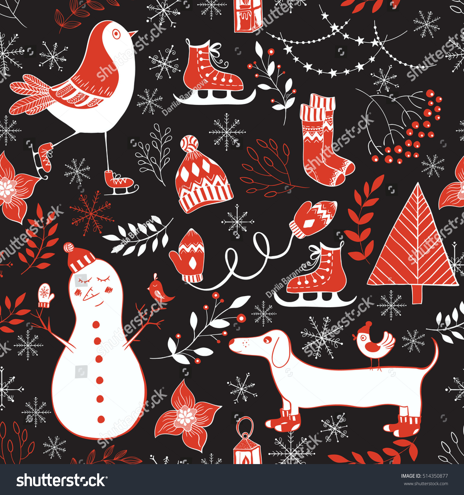 Vector Winter Seamless Patternte Hand Drawn Winter Elements For