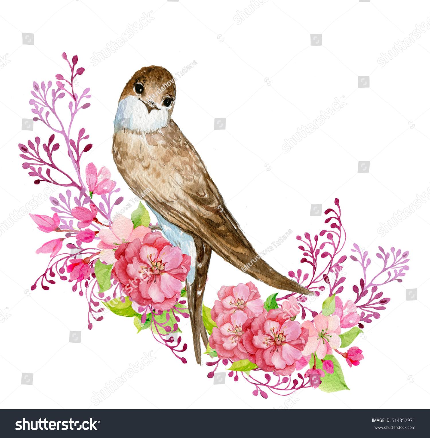 Flower Composition Bird Blue Flowers Pattern Stock Illustration