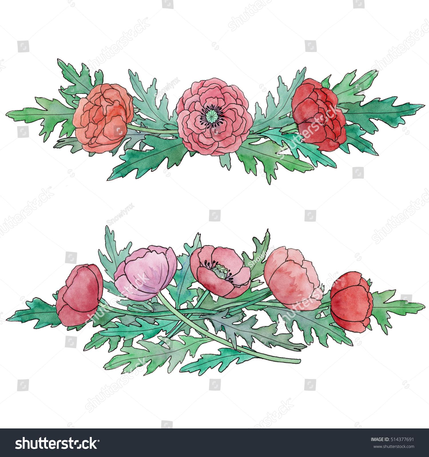 Watercolor Poppy Flower Bouquet Arrangement Stock Illustration ...