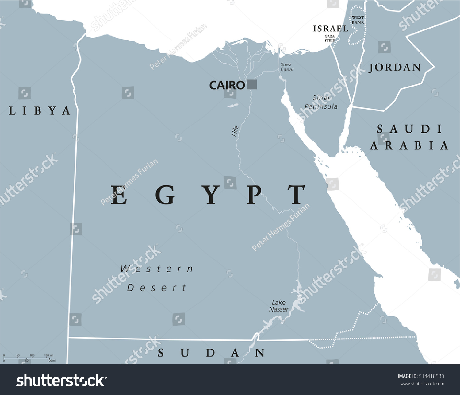 Egypt political map capital cairo nile vectores en stock 514418530 egypt political map with capital cairo with nile sinai peninsula and suez canal gumiabroncs Image collections