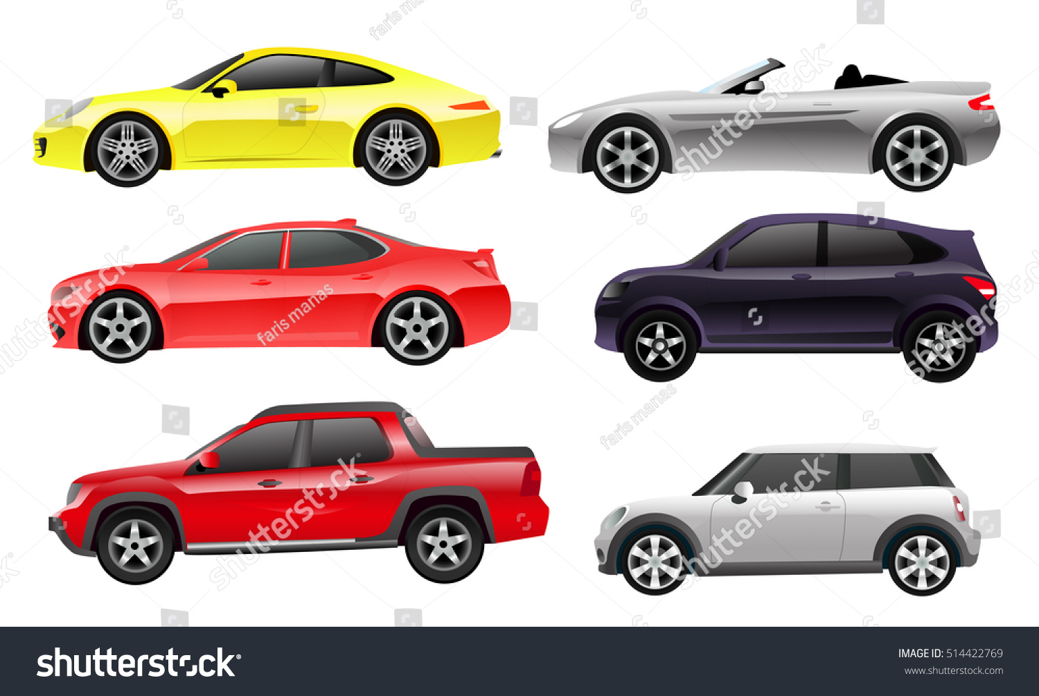 cars side view colored illustrations stock vector 514422769 shutterstock. Black Bedroom Furniture Sets. Home Design Ideas