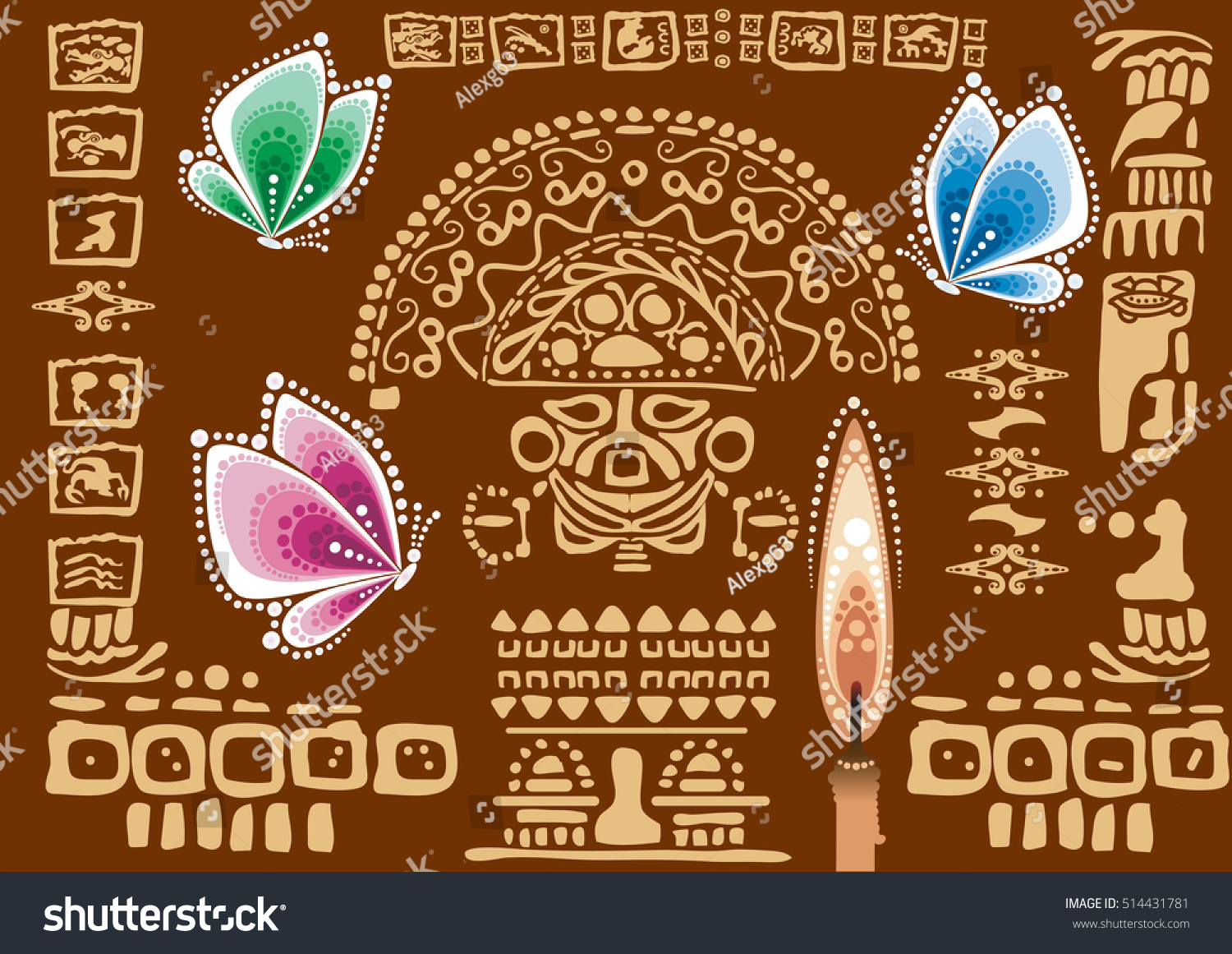 Multicolored Butterflies On Background Old Characters Stock Vector