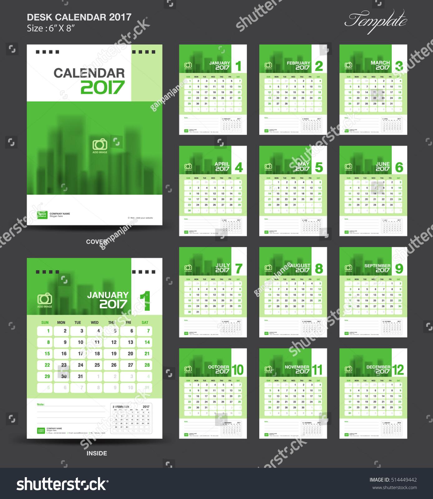 Table Calendar Size : Set green desk calendar year stock vector