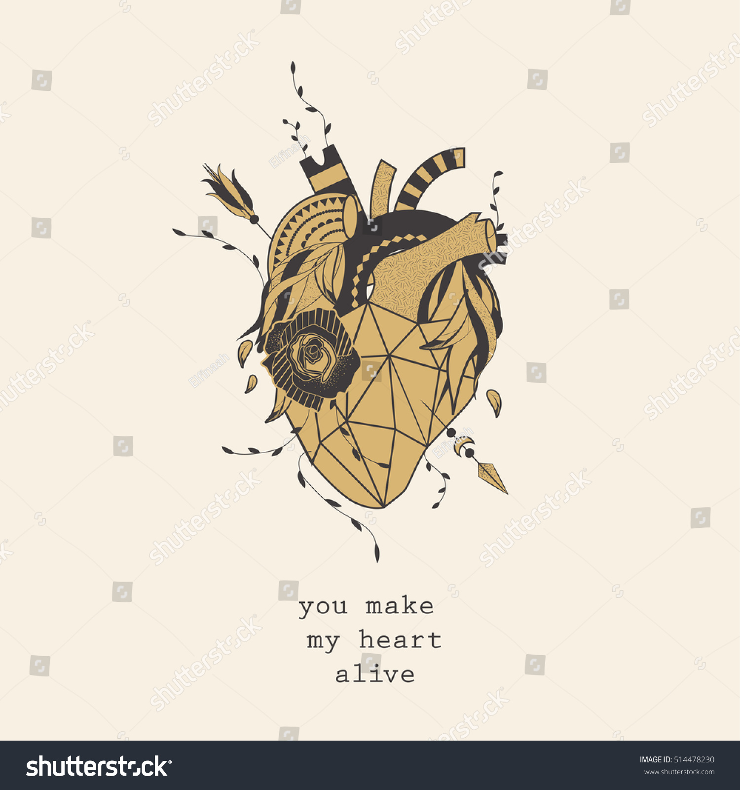 Abstract Anatomical Golden Heart On Bright Stock Vector 514478230