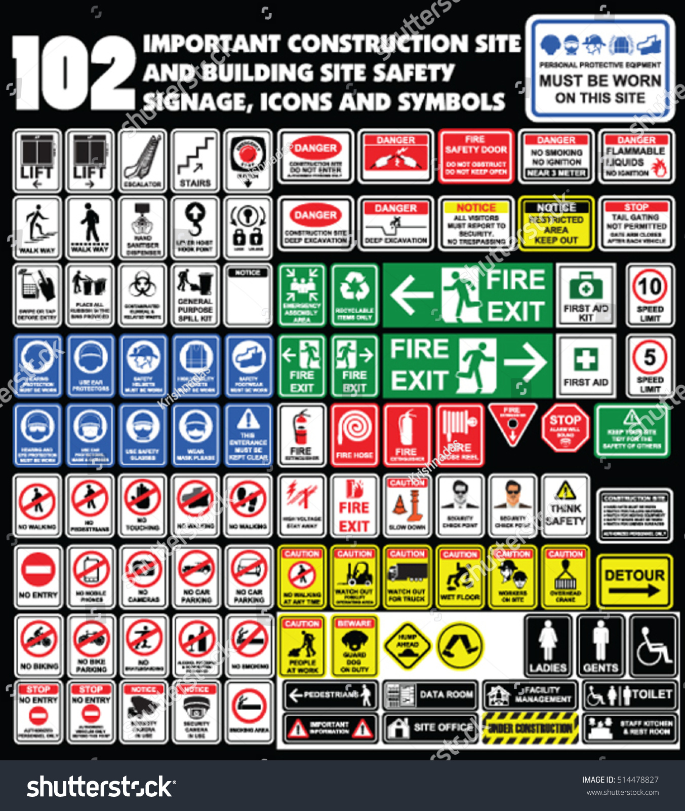 102 important construction site building site stock vector 102 important construction site and building site safety warning signage icons and symbols building buycottarizona Image collections