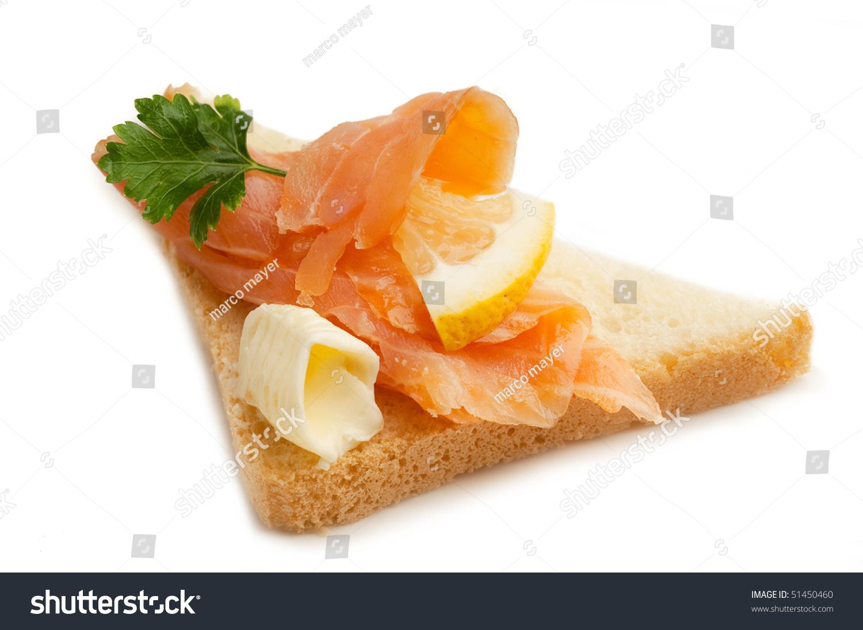 Smoked Salmon Lemon Butter Over Toast Stock Photo 51450460 ...